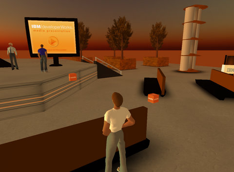My avatar attends IBM briefing in Second Life