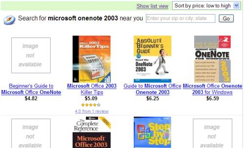 Froogle sort by price screen shot
